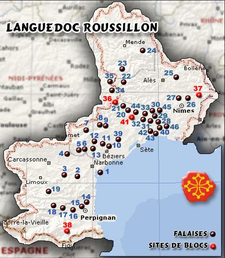 Les Sites d'Escalade en Languedoc-Roussillon ... pointez les puces !